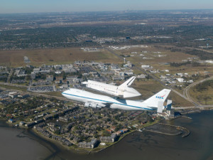 Space shuttle over Clear Lake, TX